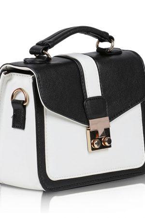 White & Black Color Turn Lock Sling Bag