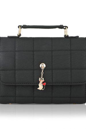 Black Color Push Button Sling Bag