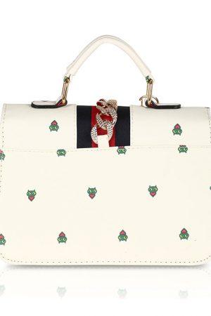 Off White Color Turn Lock Sling Bag