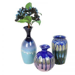 Set of 3 Ceramic Flower Vases