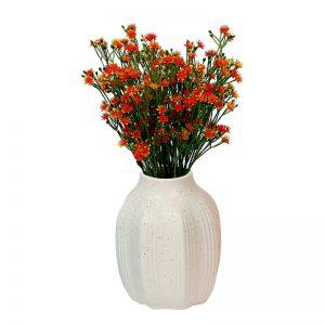 White Ceramic Dotted Flower Vase