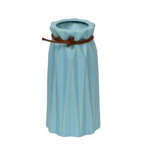 Aqua Blue Knotted Head Ceramic Flower Vase