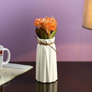 Off White Knotted Head Ceramic Flower Vase