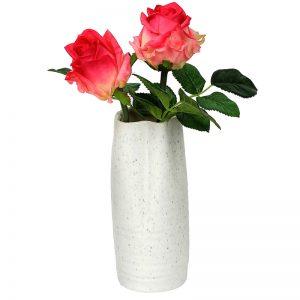 Broad Open Stone Finish White Ceramic Vase