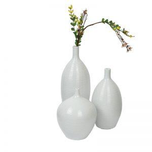 Narrow Neck Ribbed style White Ceramic Vase - Set of 3
