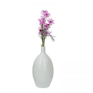 Narrow Neck Ribbed style White Ceramic Vase