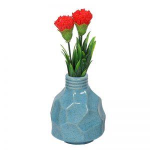 Fine Textured Multicolor Ceramic Flower Vase - Turquoise Blue