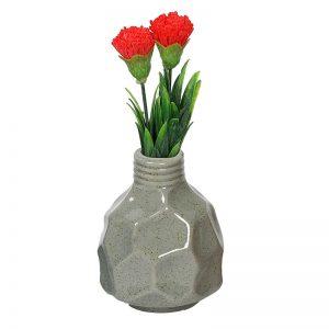 Fine Textured Multicolor Ceramic Flower Vase - Grey