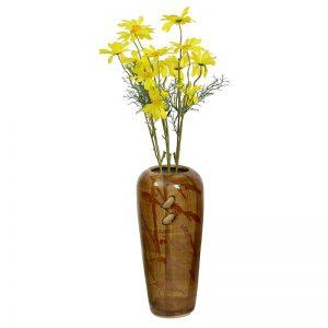 Handpainted Broad Open Brown Ceramic Vase