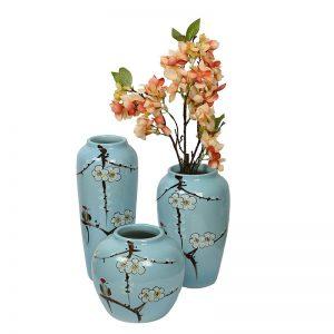 Sobre Aqua Blue Hand painted Ceramic Vase - Set of 3