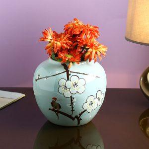 Sobre Aqua Blue Hand painted Ceramic Vase