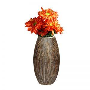 Wooden Look Ceramic Brown Vase