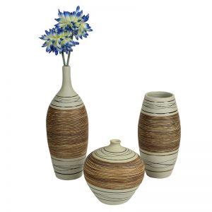 Set of 3 Brown & Beige Ceramic Vases
