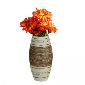 Ceramic Brown & Beige Designer Flower Vase