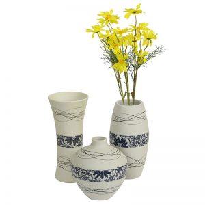 White & Blue Ceramic Vase - Set of 3