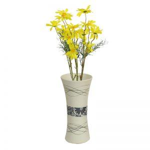 White & Blue Ceramic Vase for Modern Interior