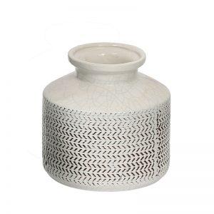 Beautiful Crinkled Effect White Ceramic Vase