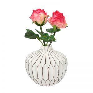Round Bottle Style White Ceramic Decorative Vase