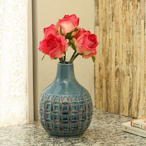 Royal Blue Crinkled Effect Round Ceramic Vase