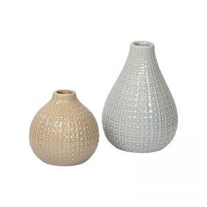 Retro Style Cream & White Handcrafted Ceramic Vase - Set of 2