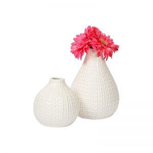 Round Glazed White Ceramic Decorative Vase - Set of 2