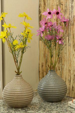 Round Decorative Glazed Ceramic Vase Beige & Grey Set of 2