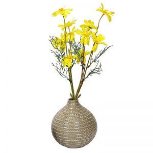 Round Decorative Glazed Ceramic Vase - Beige