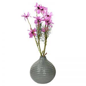 Round Decorative Glazed Ceramic Vase-Grey