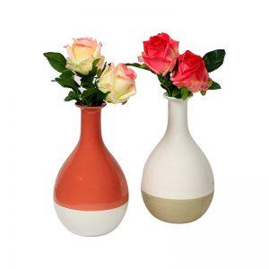 Dual Tone Orange And White Ceramic Vase - Set of 2