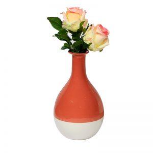Dual Tone Orange Ceramic Vase