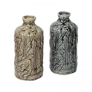 Handcrafted Leafy Design Decorative Ceramic Vase - Set of 2