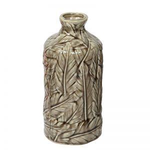 Handcrafted Leafy Design Decorative Beige Ceramic Vase