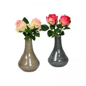 Set of 2 Grey & Beige Marble Finish Shiny Ceramic Vase