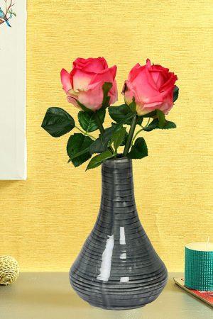 Grey Marble Finish Shiny Ceramic Vase