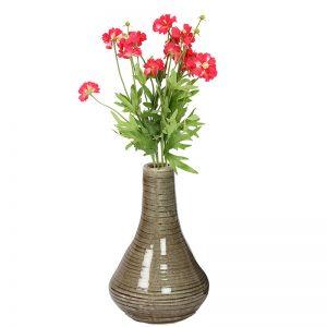 Beige Marble Finish Shiny Ceramic Vase