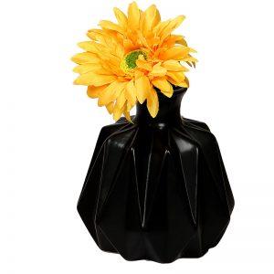 Black Groovy Designer Ceramic Vase