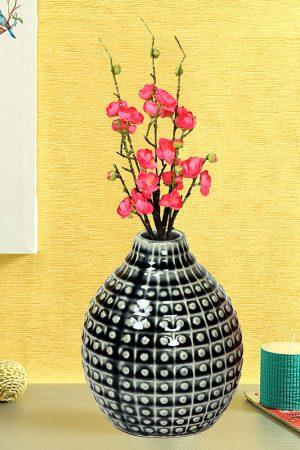 Handcrafted Charcoal Grey Glazed Ceramic Vase