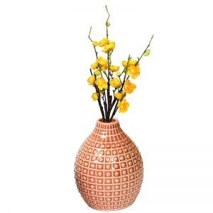 Handcrafted Peach Glazed Ceramic Vase