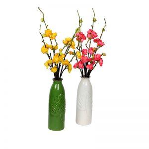 Embossed Leaf Design Green & White Ceramic Vase - Set of 2