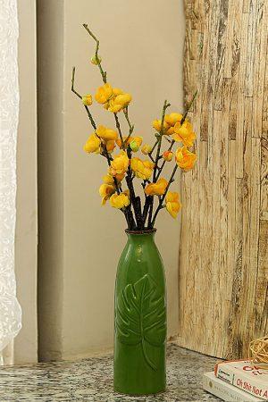 Embossed Leaf Design Green Ceramic Vase
