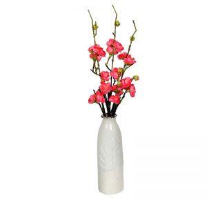 Embossed Leaf Design White Ceramic Vase