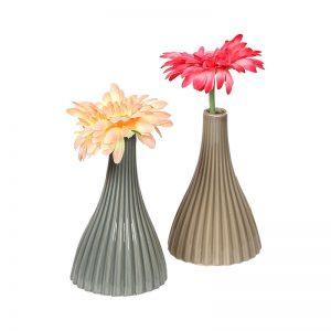 Linear Ribbed Style Brown & Grey Ceramic Vase - Set of 2