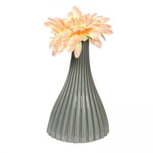 Linear Ribbed Style Grey Ceramic Vase