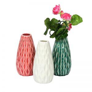 Geometrically Designed Ceramic Vase - Set of 3