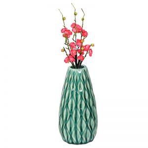 Geometrically Designed Shiny Green Ceramic Vase