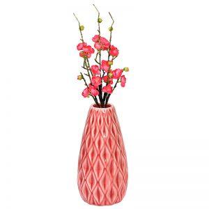 Geometrically Designed Shiny Peach Ceramic Vase
