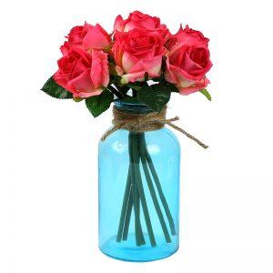 Jute Necked Blue Transparent Glass Vase
