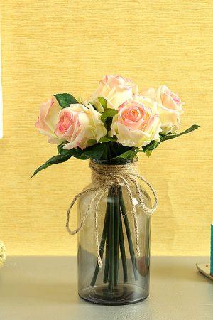 Jute Necked Grey Transparent Glass Vase