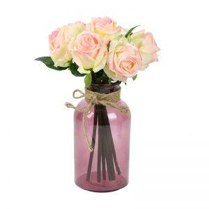 Jute Necked Pink Transparent Glass Vase