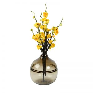 Big Round Heavy Glass Transparent Brown Vase